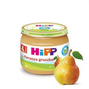 słoiczek dla niemowląt HiPP pierwsza gruszka, obok słoiczka gruszka